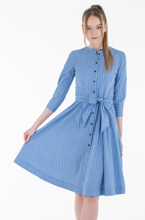 Y/D COT SHIRT MIDI DRESS 7/8 SLV