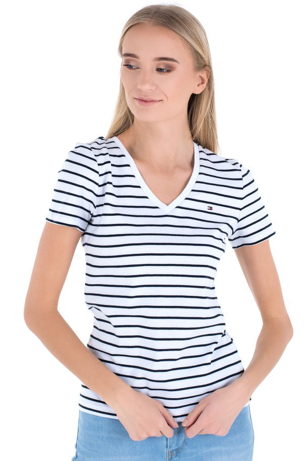 SP SLIM STRIPE V-NK TOP SS