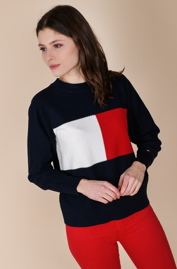 TEXTURED FLAG C-NK SWT LS