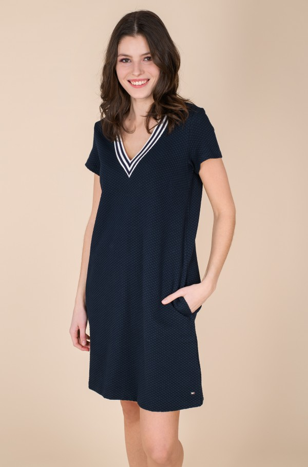 TEXTURED SHIFT SHORT DRESS SS