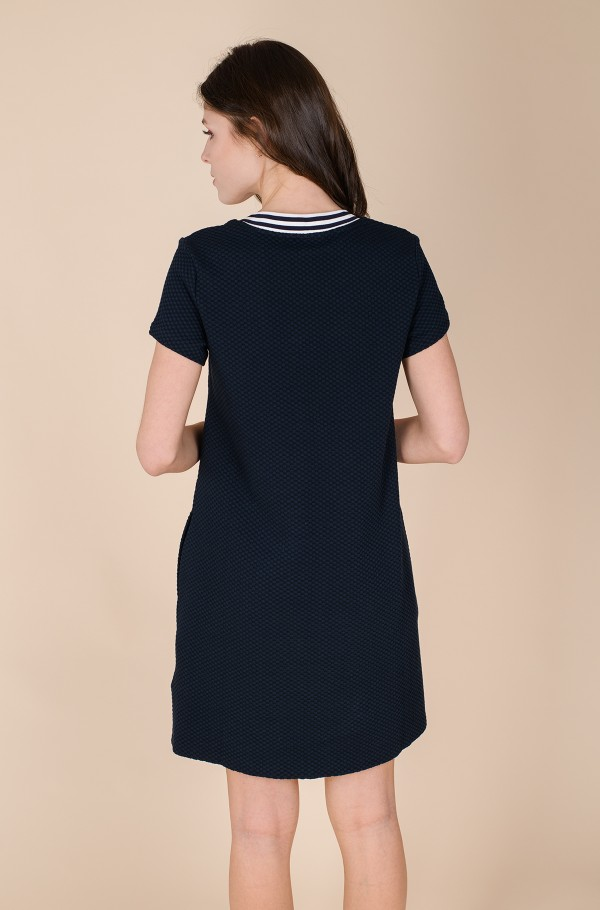 TEXTURED SHIFT SHORT DRESS SS-hover