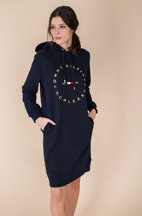 CIRCLE HOODIE SHORT DRESS LS-hover