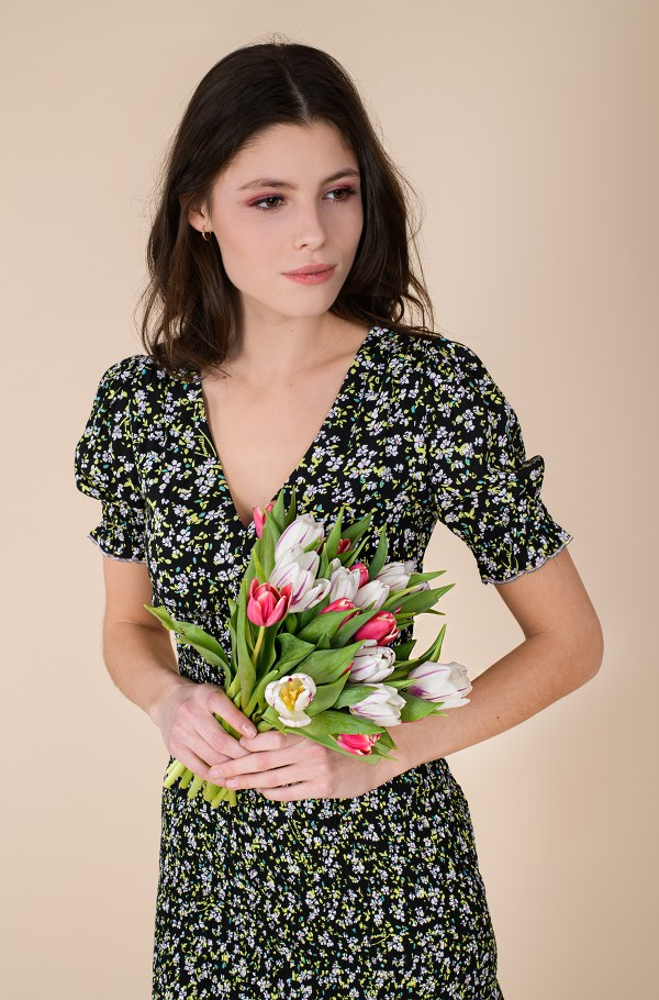 TJW SMOCK BODY FLORAL DRESS-hover