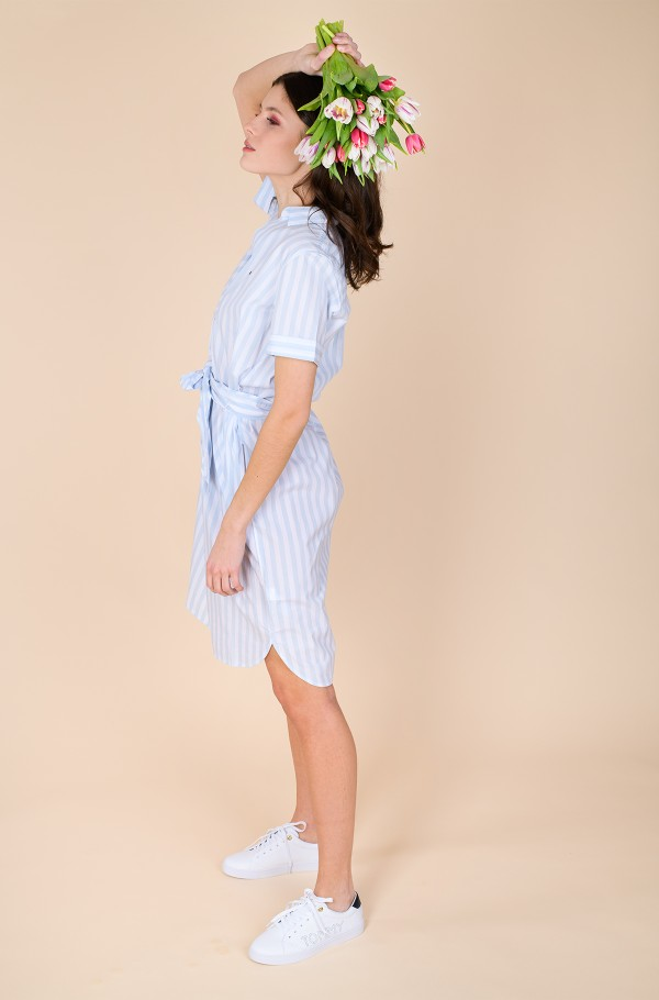COT POPLIN KNEE SHIRT DRESS SS