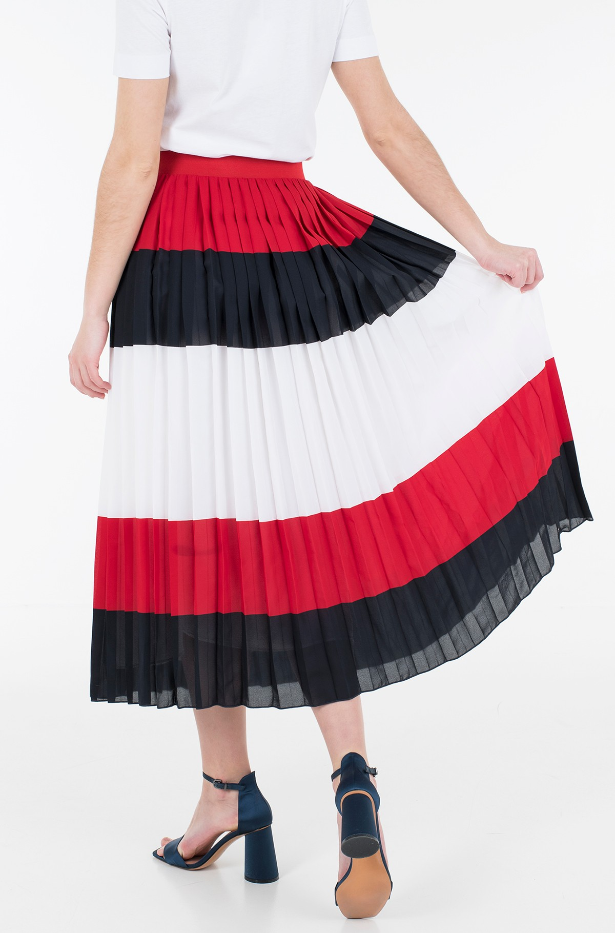 Skirt CREPE PLEATED MIDI SKIRT-full-3