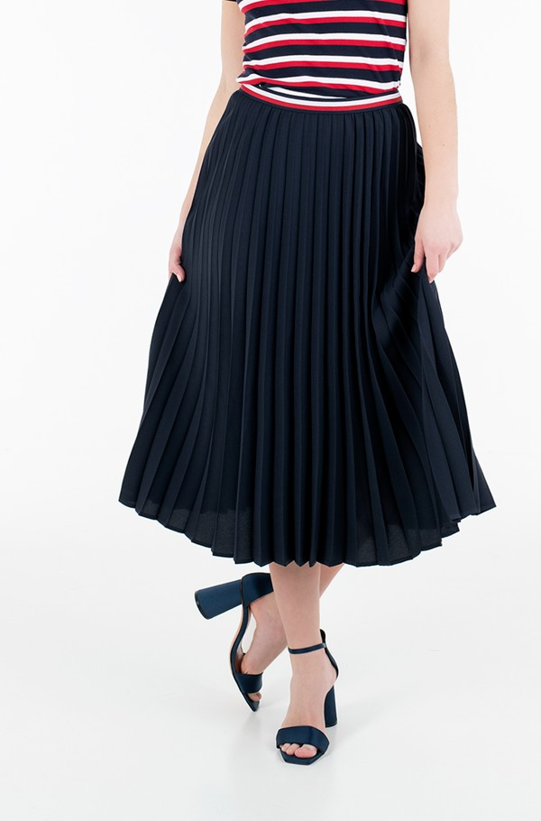 CREPE PLEATED GBL MIDI SKIRT