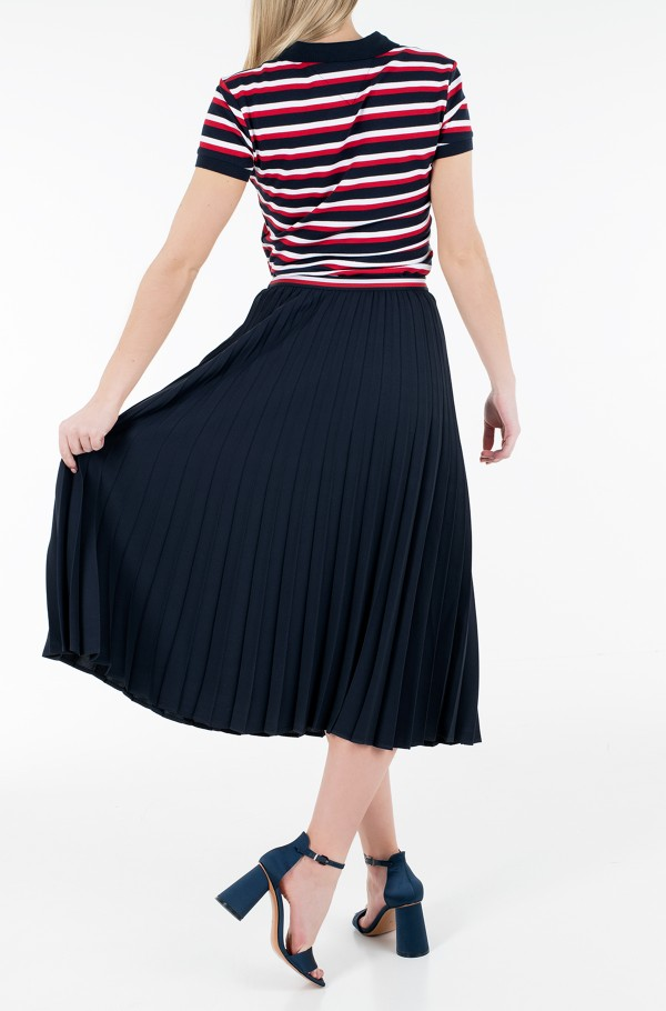 CREPE PLEATED GBL MIDI SKIRT-hover