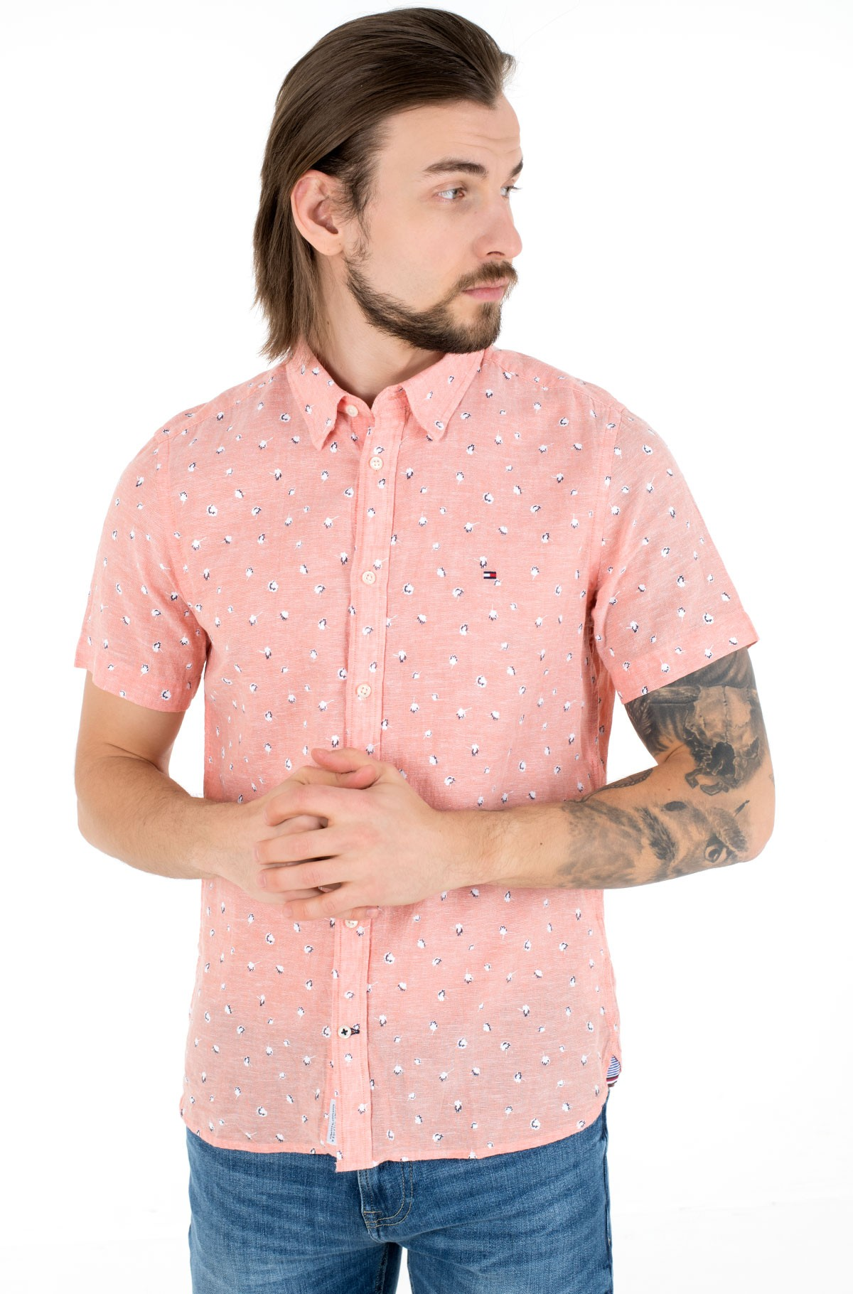 Short sleeve shirt SLIM CO/LI FLORAL PRT SHIRT S/S-full-1