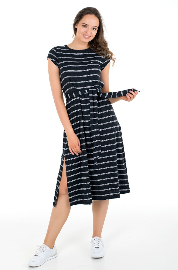TJW BELTED STRIPE DRESS