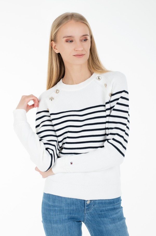 ORG CO BUTTON C-NK SWT LS