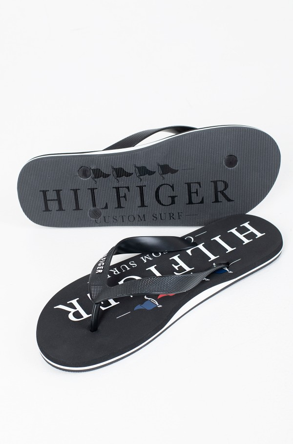 NAUTICAL PRINT BEACH SANDAL-hover