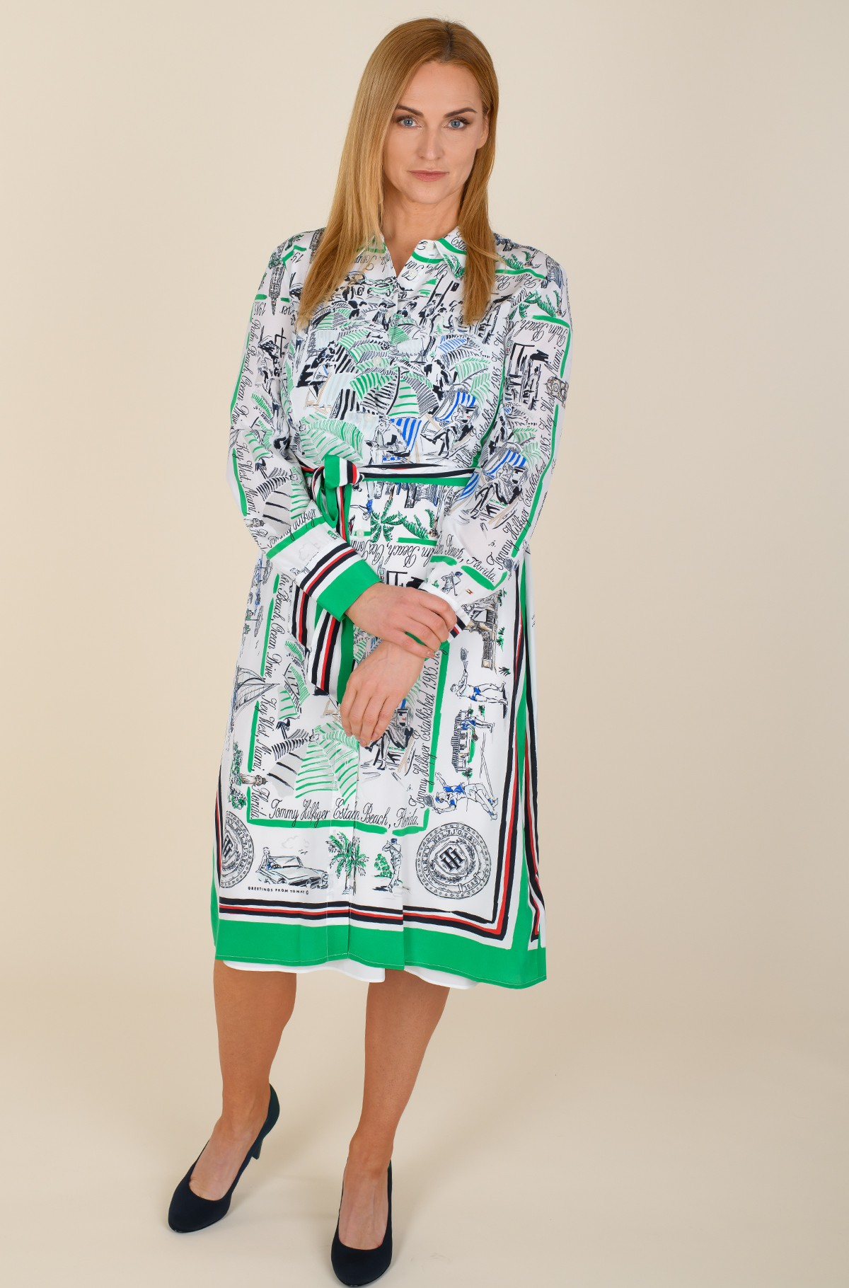 Dress SILK PRT KNEE SHIRT DRESS LS-full-1