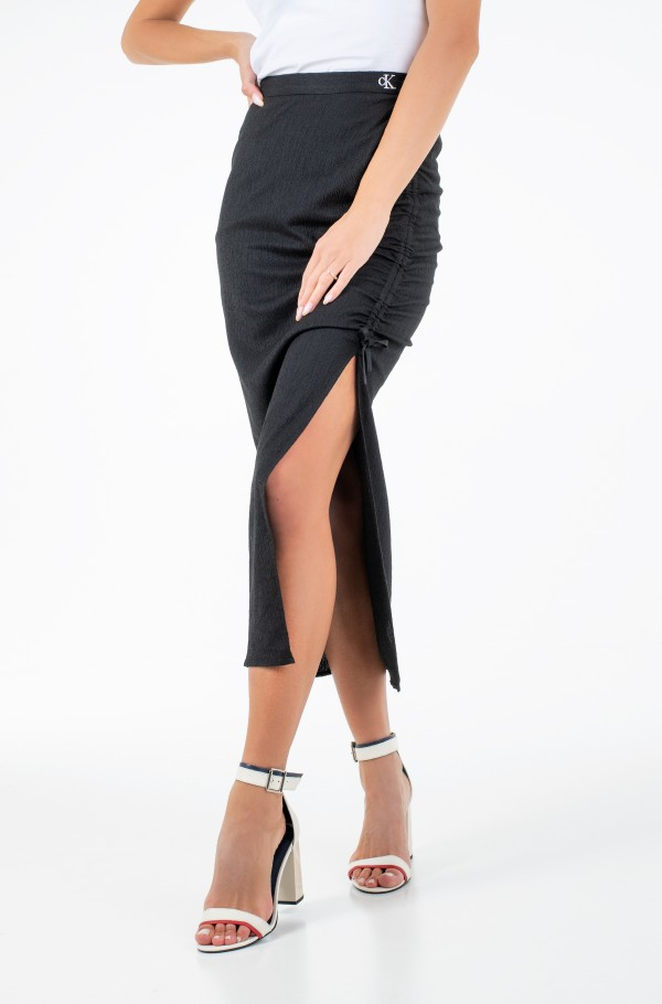 TEXTURED MAXI SKIRT-hover