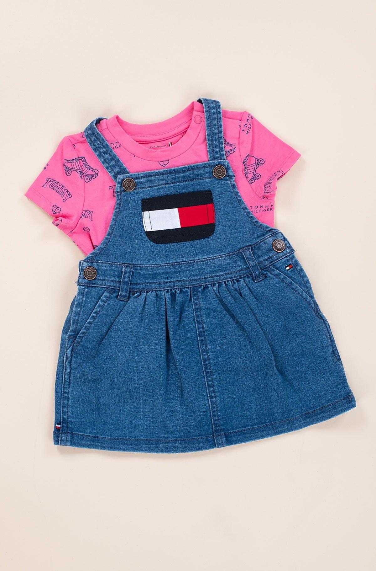 Laste kleit BABY DUNGAREE DRESS SET-full-3