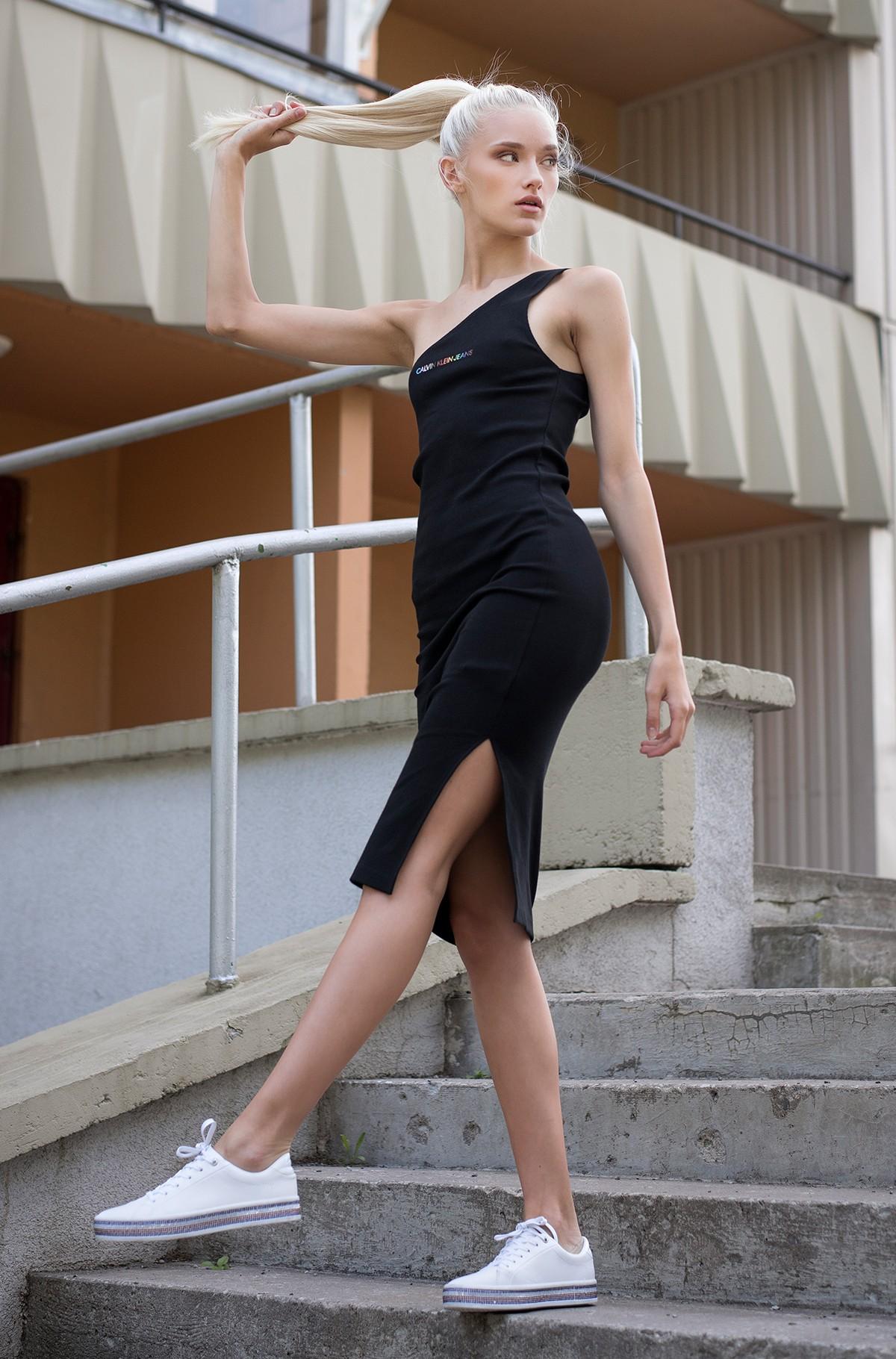 Kleit PRIDE ASYMMETRICAL RIB DRESS-full-1