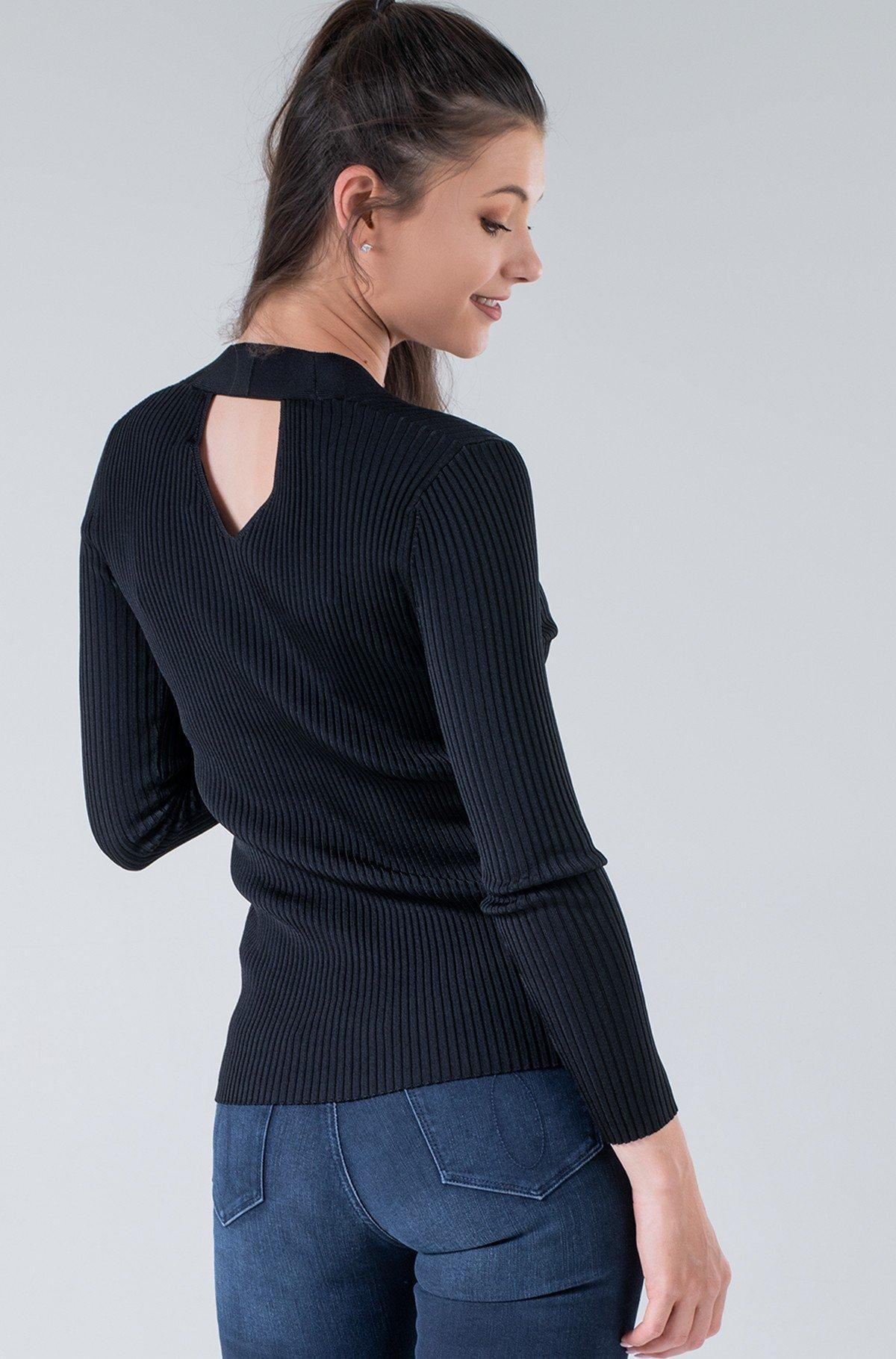 Knitwear ICONIC RIB V-NECK SWEATER-full-2