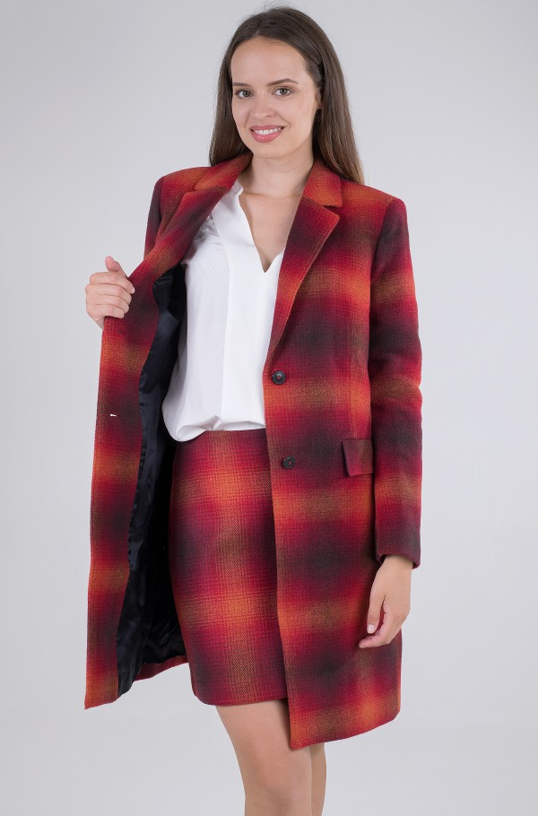 WOOL BLEND CHECK CLASSIC COAT-hover