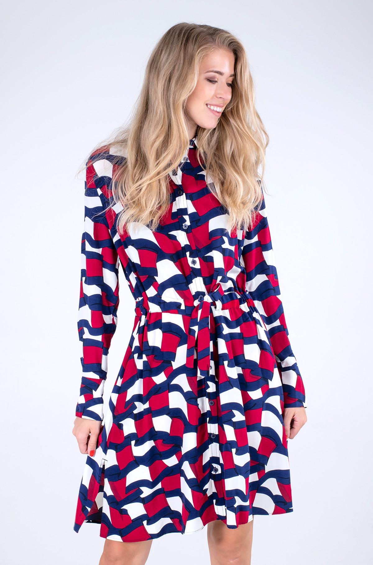 Kleit VISCOSE KNEE SHIRT DRESS LS-full-1
