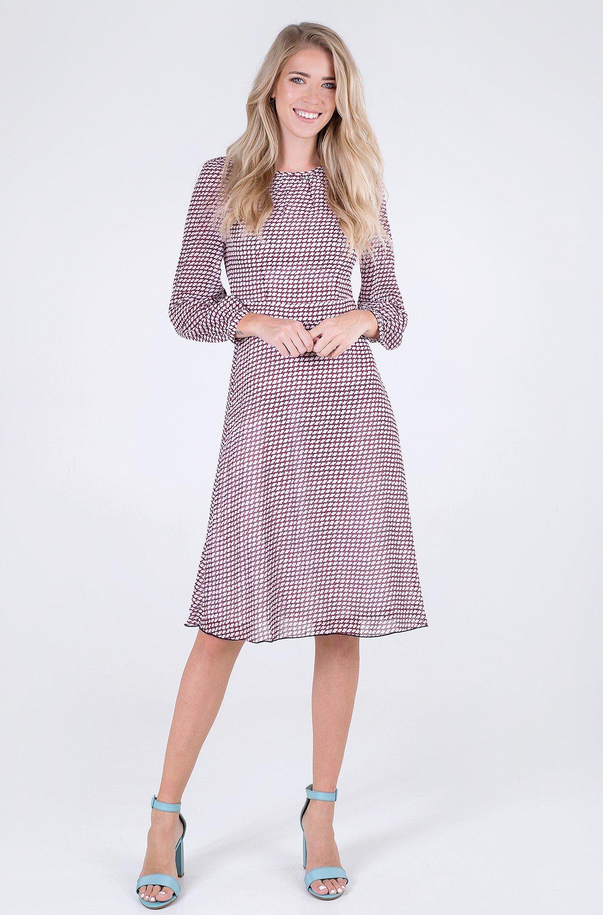 Kleit GEO FIT & FLARE KNEE DRESS LS-full-1