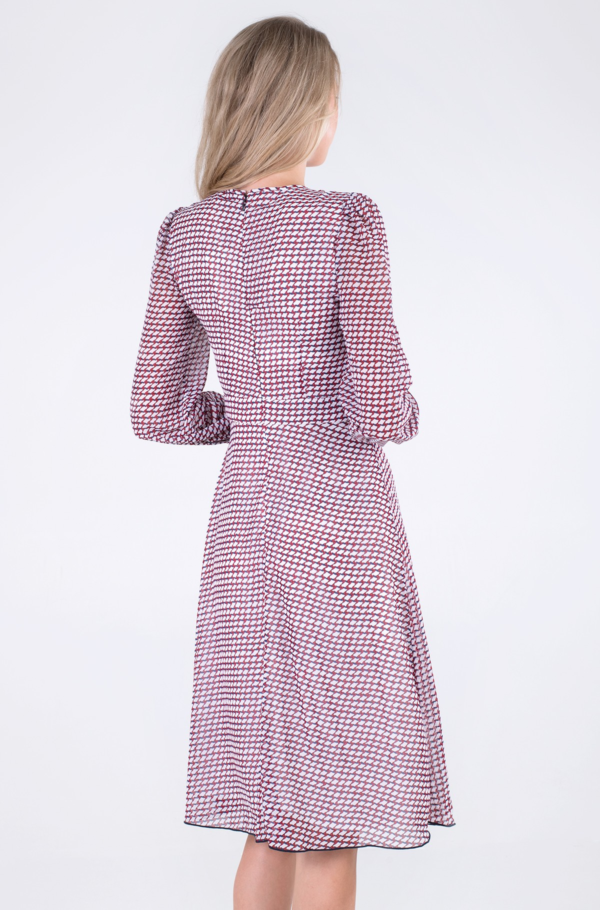 Kleit GEO FIT & FLARE KNEE DRESS LS-full-3