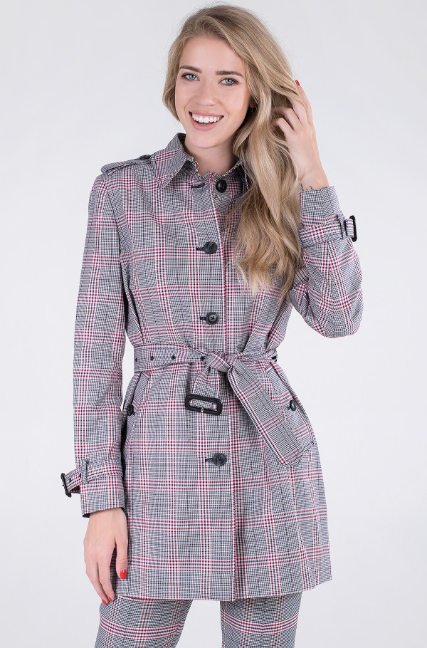 VISCOSE BLEND SB CHECK TRENCH-hover
