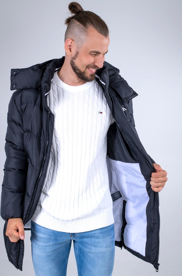 ESS LONG HOODED DOWN JACKET-hover