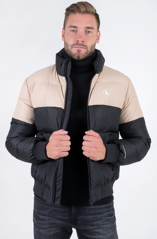 BLOCKING FAUX DOWN JACKET-hover