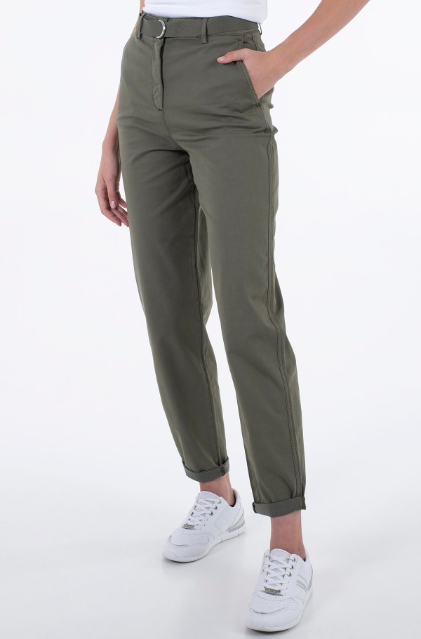 CO BLEND BELT TAPERED CHINO PANT