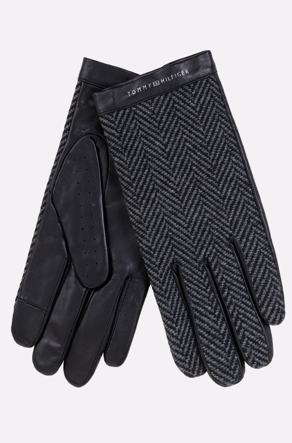 TEXTILE MIX LEATHER GLOVES