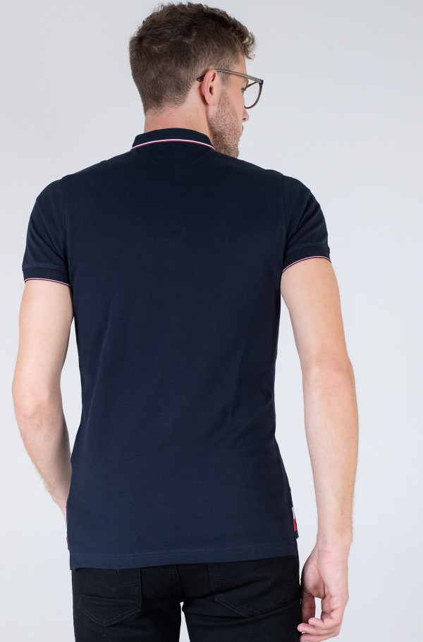 BAND COLLAR TIPPED SLIM POLO-hover