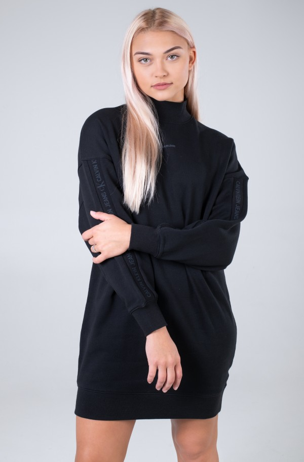 LOGO TRIM MOCK NECK DRESS