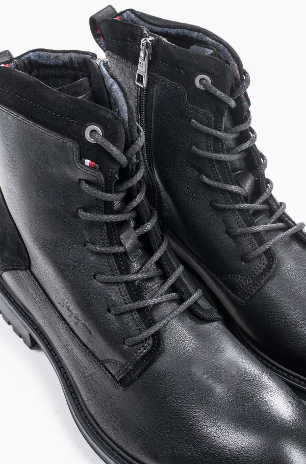 CREATIVE LEATHER MIX ZIP BOOT-hover